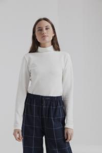 T-shirt manches longues col roulé blanc en coton bio - ellen rib