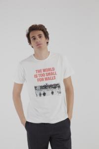 T-shirt imprimé blanc en coton bio - no walls berlin - Thinking Mu