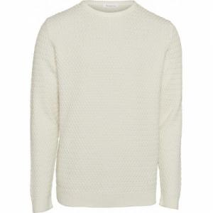 Pull blanc en coton bio - small diamond knit - Knowledge Cotton Apparel