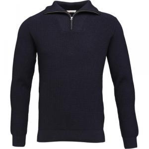 Pull col zippé bleu marine en coton et laine bio