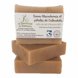 Savon Macadamia et pétales de calendula - 40% de lait d'ânesse frais et bio