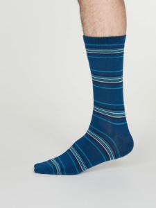 Chaussettes rayées bleues