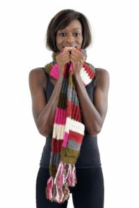 Echarpe poches moufles pure laine multicolore