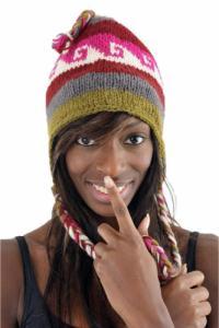 Bonnet pure laine douce du Nepal multicolore