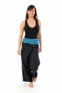 Pantalon pecheur Thai noir rayure turquoise