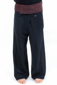 Pantalon Thai noir rayures noires
