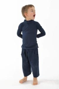 T shirt polo coton bio col mao manches longues enfant