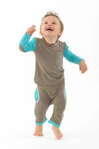 Pantalon sarouel enfant pur coton bio Kaki et turquoise