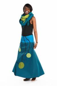 Jupe longue ethnic bulb bleu vert coton doux du Nepal