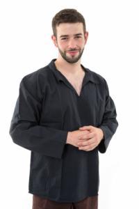 Chemise col relax coton comme du lin noir
