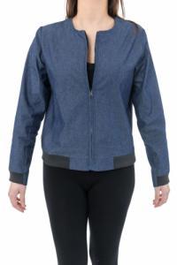 Veste style blouson teddy Jean urban chic blue denim et jersey noir