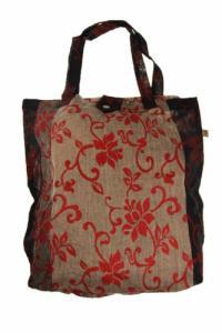 Sac tote bag coton imprimé Royal noir et gris imprime fleuri rouge