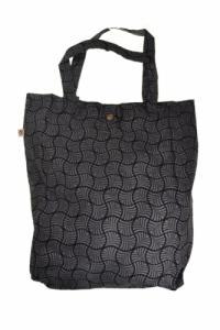 Sac tote bag coton imprimé ethnic gingko dream gris noir