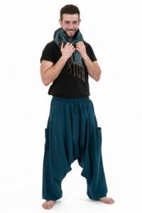 Pantalon sarwal zen Nepal homme femme coton leger bleu petrole