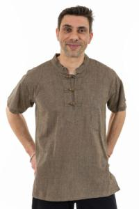 Chemise ethnique manches courtes col mao
