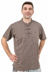 Chemisette ethnique col mao boutons coton dark chanvre