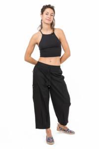 Pantalon midi pantacourt cargo noir Balah