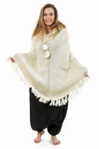 Poncho pure laine douce du Nepal creme