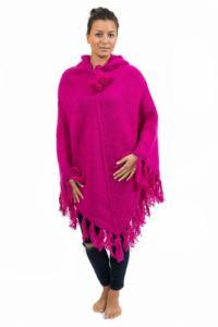 Poncho pure laine douce du Nepal rose indien
