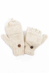 Moufles mitaines creme uni pure laine et polaire douce