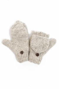 Moufles mitaines gris chine clair pure laine et polaire douce