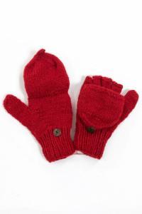 Moufles mitaines rouge uni pure laine et polaire douce