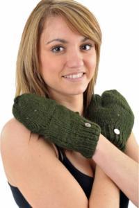 Gants mitaines moufles vert kaki pure laine et polaire douce