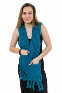 Echarpe mouffle pure laine turquoise