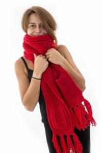 Echarpe mouffle pure laine rouge