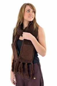 Echarpe mouffle pure laine marron