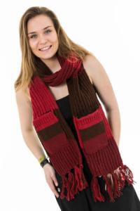 Echarpe poches moufles pure laine dégradé rouge marron