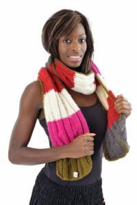 Echarpe pure laine douce vert rose creme rouge gris