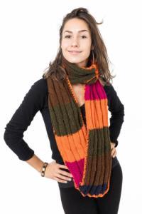 Echarpe pure laine douce rose orange vert marron bleu foncé