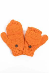 Moufles mitaines orange uni pure laine et polaire douce
