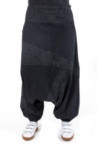 Sarouel imprime noir gris Badala