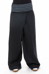 Pantalon thai fisherman noir gris