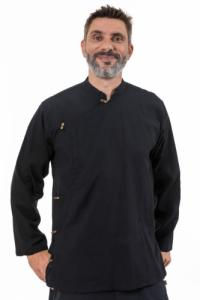 Chemise tibetaine homme ouverture laterale noire