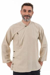 Chemise tibetaine homme ouverture laterale chanvre