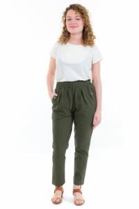 Pantalon carotte femme taille elastique kaki