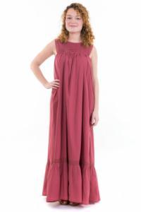 Robe maxi boheme dentelle rose
