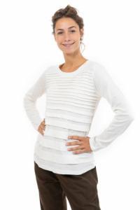 Tee shirt manches longues femme plis ecru