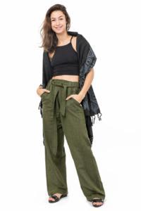 Pantalon droit basic ethnic kaki personnalisable