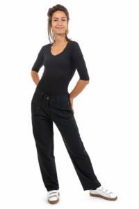 Pantalon droit avec plis noir Matra