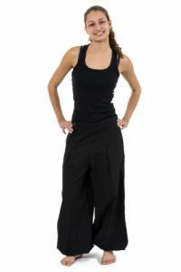 Pantalon ethnique large bouffant droit femme noir uni Damh personnalisable