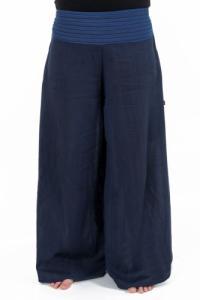 Pantalon ethnique leger navy blue chine et rayures Nausika personnalisable
