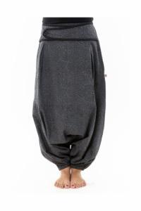 Sarouel femme hiver gris souris imprime psychedelic noir personnalisable