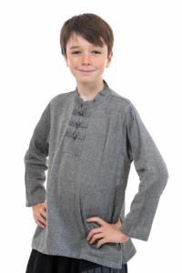 Chemise ethnique enfant col mao grise