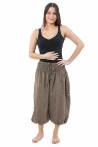 Pantacourt sarouel smocks coton chanvre fonce Hindou personnalisable