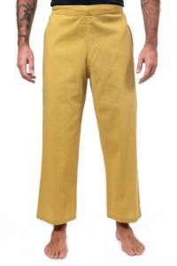 Pantalon large droit mixte moutarde