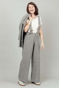Pantalon taille haute à bretelles Audray